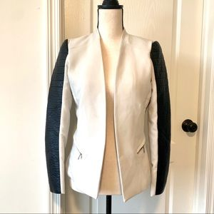 H&M Moto Blazer with Faux Leather Arms—SZ. 6